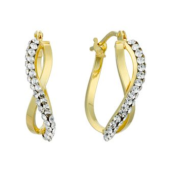 9ct Yellow Gold Swarovski Crystal Figure of 8 Hoop Earrings - Product number 4667298