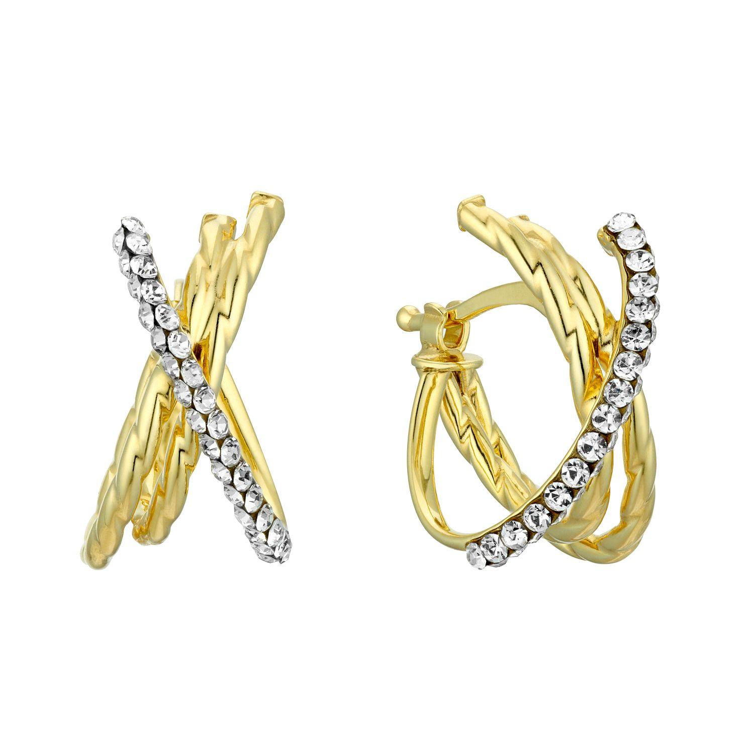 9ct Yellow Gold Swarovski Crystal Crossover Hoop Earrings - Product number 4667859