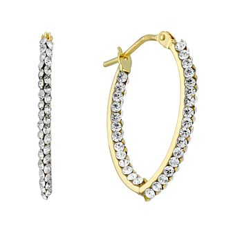 9ct Yellow Gold Swarovski Crystal 20mm Creole Hoop Earrings - Product number 4668294