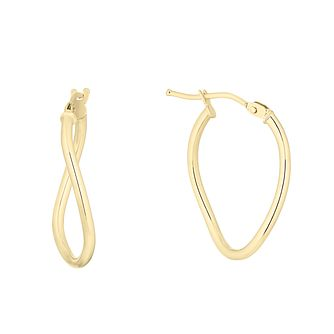 9ct Yellow Gold Oval Creole Hoop Earrings - Product number 4668367