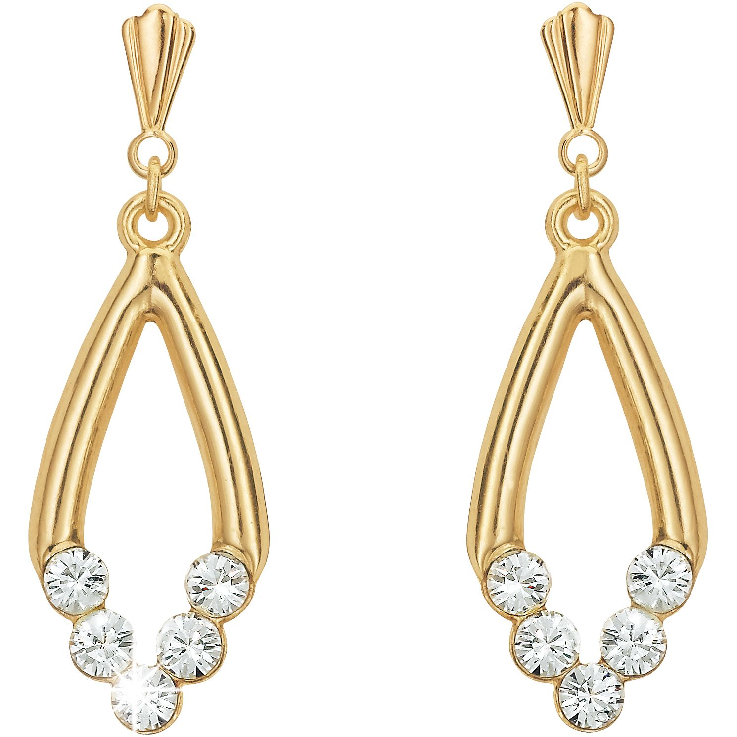 9ct Gold Oval Crystal Drop Earrings - Product number 4668626