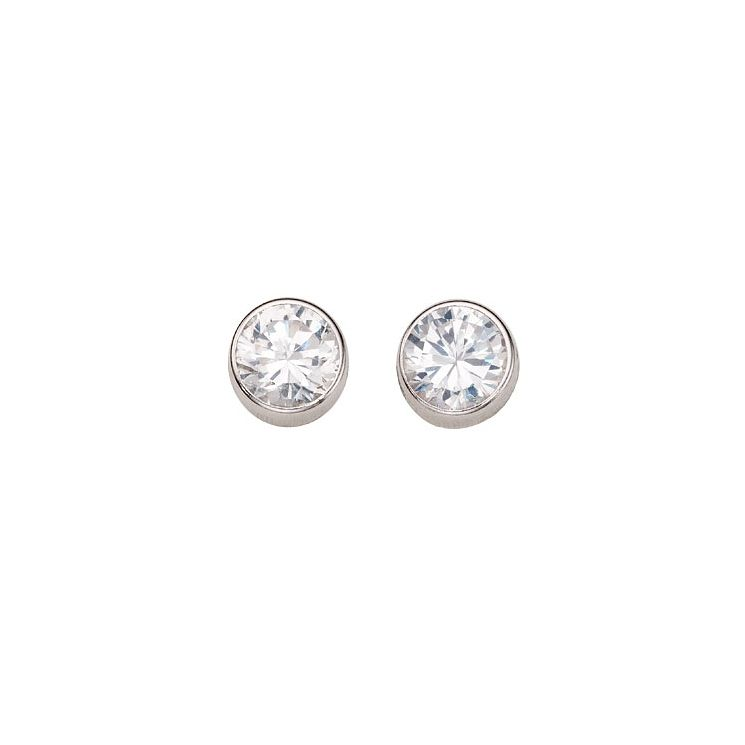 9ct White Gold Cubic Zirconia 5mm Stud Earrings - Product number 4668847