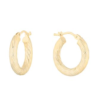 9ct Yellow Gold Diamond Cut Creole Hoop Earrings - Product number 4669819