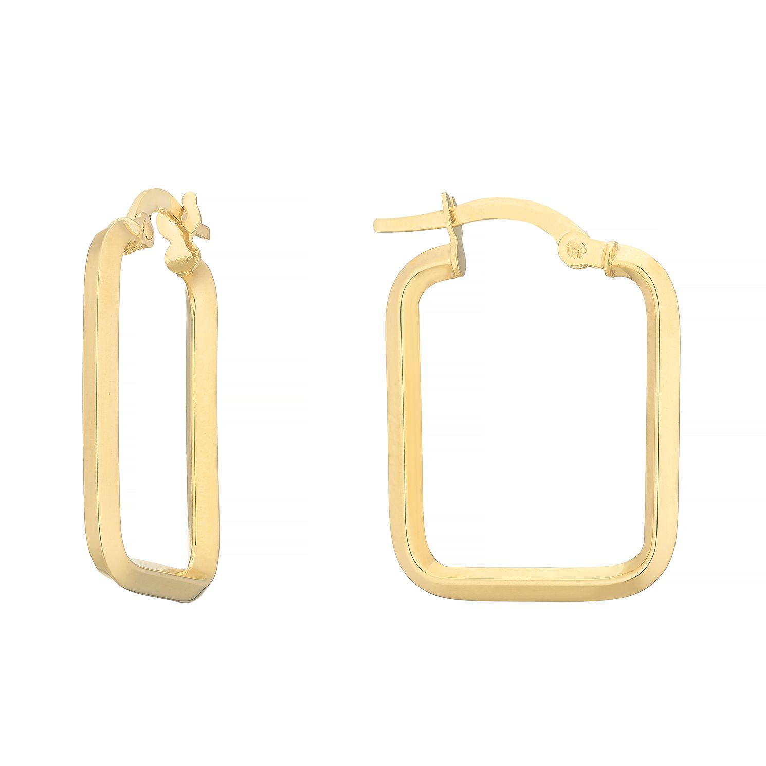 9ct Yellow Gold Rectangle Creole Hoop Earrings - Product number 4669886