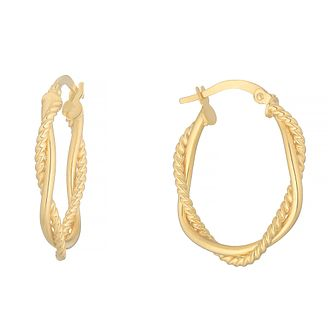 9ct Yellow Gold Intertwined Oval Creole Hoop Earrings - Product number 4669924