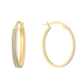 9ct Yellow Gold Glitter Creole Hoop Earrings - Product number 4669940