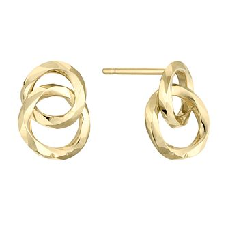 9ct Yellow Gold Intertwined Circles Stud Earrings - Product number 4669967