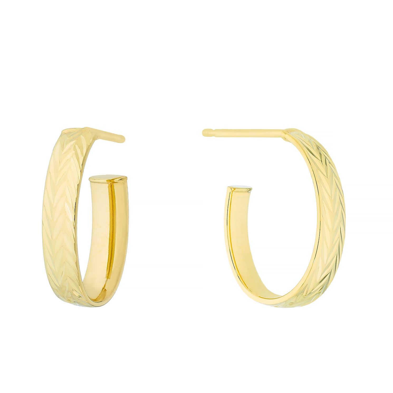 9ct Yellow Gold Diamond Cut 3/4 Hoop Earrings - Product number 4669983