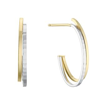 9ct Two Tone Gold 2 Rows 3/4 Hoop Earrings - Product number 4669991