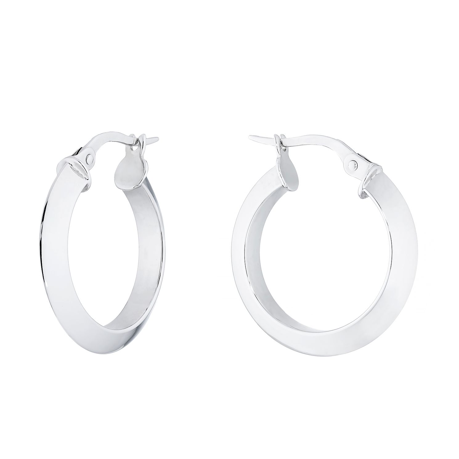 9ct White Gold Bevel Edge Hoop Earrings - Product number 4670086