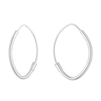9ct White Gold Oval Sleeper Earrings - Product number 4670116