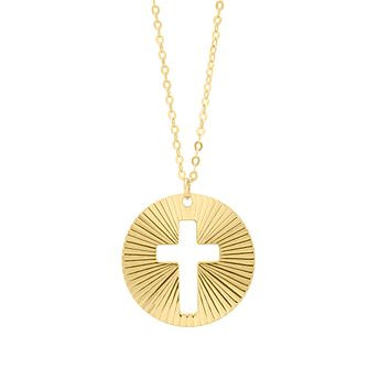9ct Yellow Gold Cut Out Cross Disc Pendant - Product number 4670191