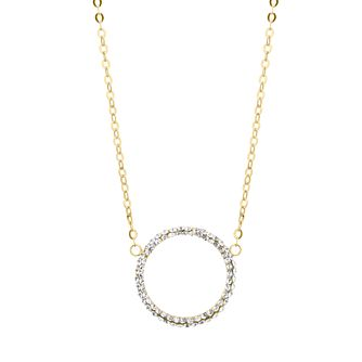 9ct Yellow Gold Swarovski Crystal Open Circle Necklace - Product number 4670213