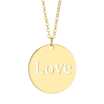9ct Yellow Gold Love Disc Pendant - Product number 4670264