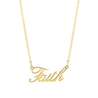 9ct Yellow Gold Faith Script Necklace - Product number 4670582