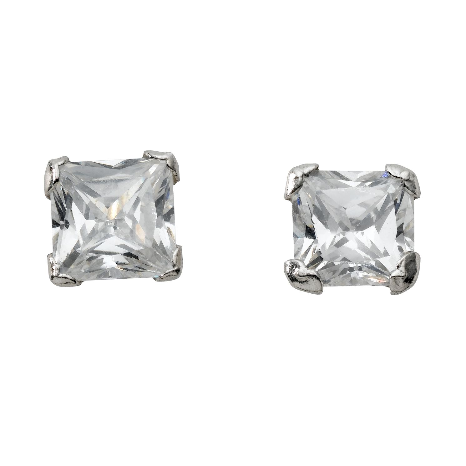 9ct White Gold Cubic Zirconia Square 5mm Stud Earrings - Product number 4670906