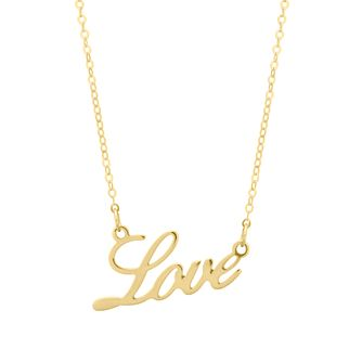 9ct Yellow Gold Love Script Necklace - Product number 4671449