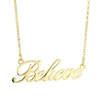 9ct Yellow Gold Believe Script Necklace - Product number 4671503