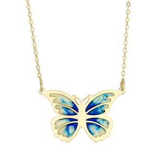 9ct Yellow Gold Enamel Butterfly Necklace - Product number 4671929