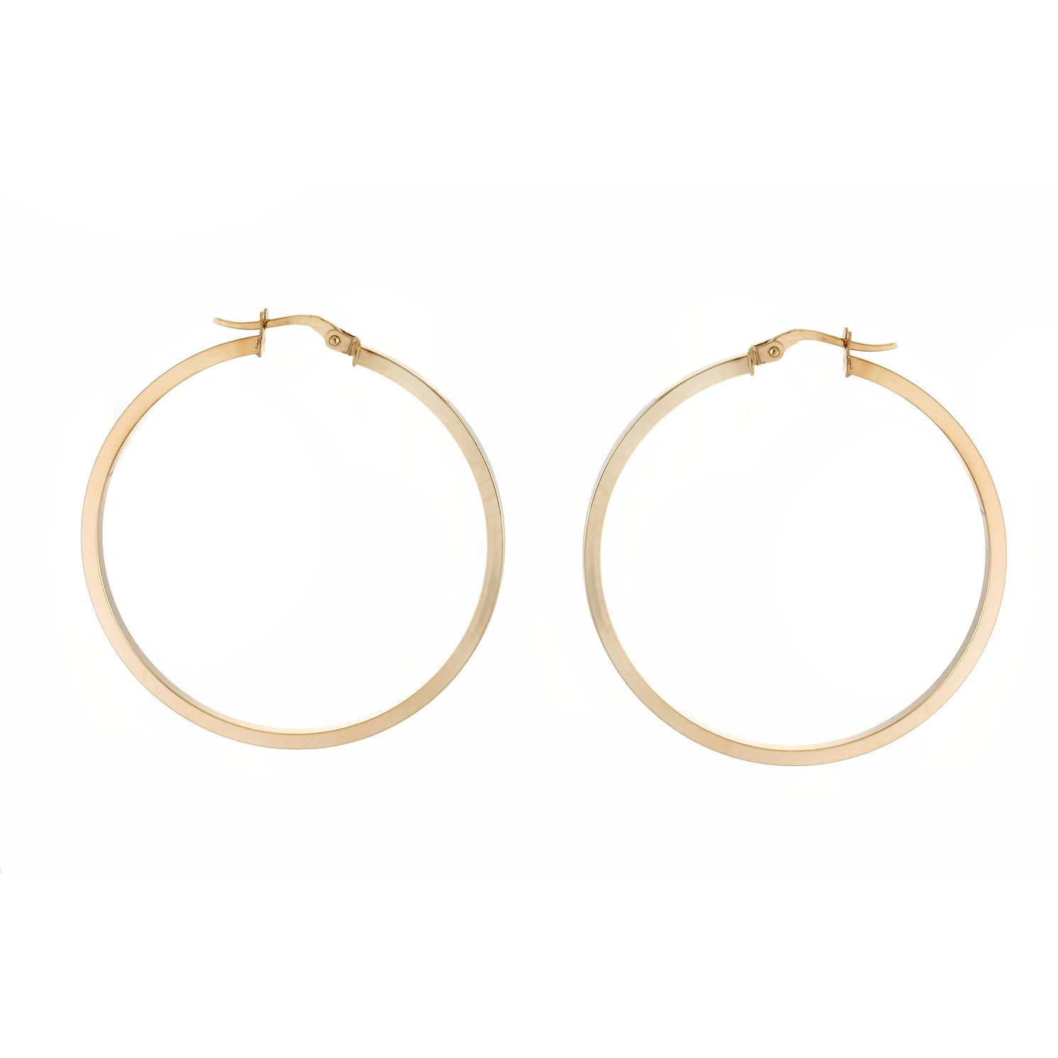 9ct Yellow Gold Square Tube 40mm Hoop Earrings - Product number 4672100