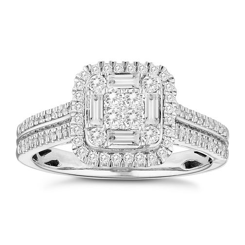 18ct White Gold 1/2ct Diamond Square Cluster Ring - Product number 4672364