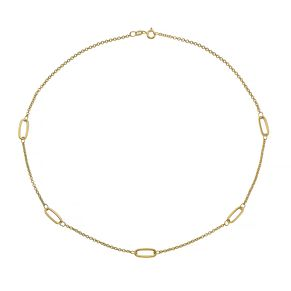 9ct Yellow Gold Oval Station Chain Bracelet - Product number 4673034
