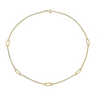 9ct Yellow Gold Oval Station Chain Necklace - Product number 4672437