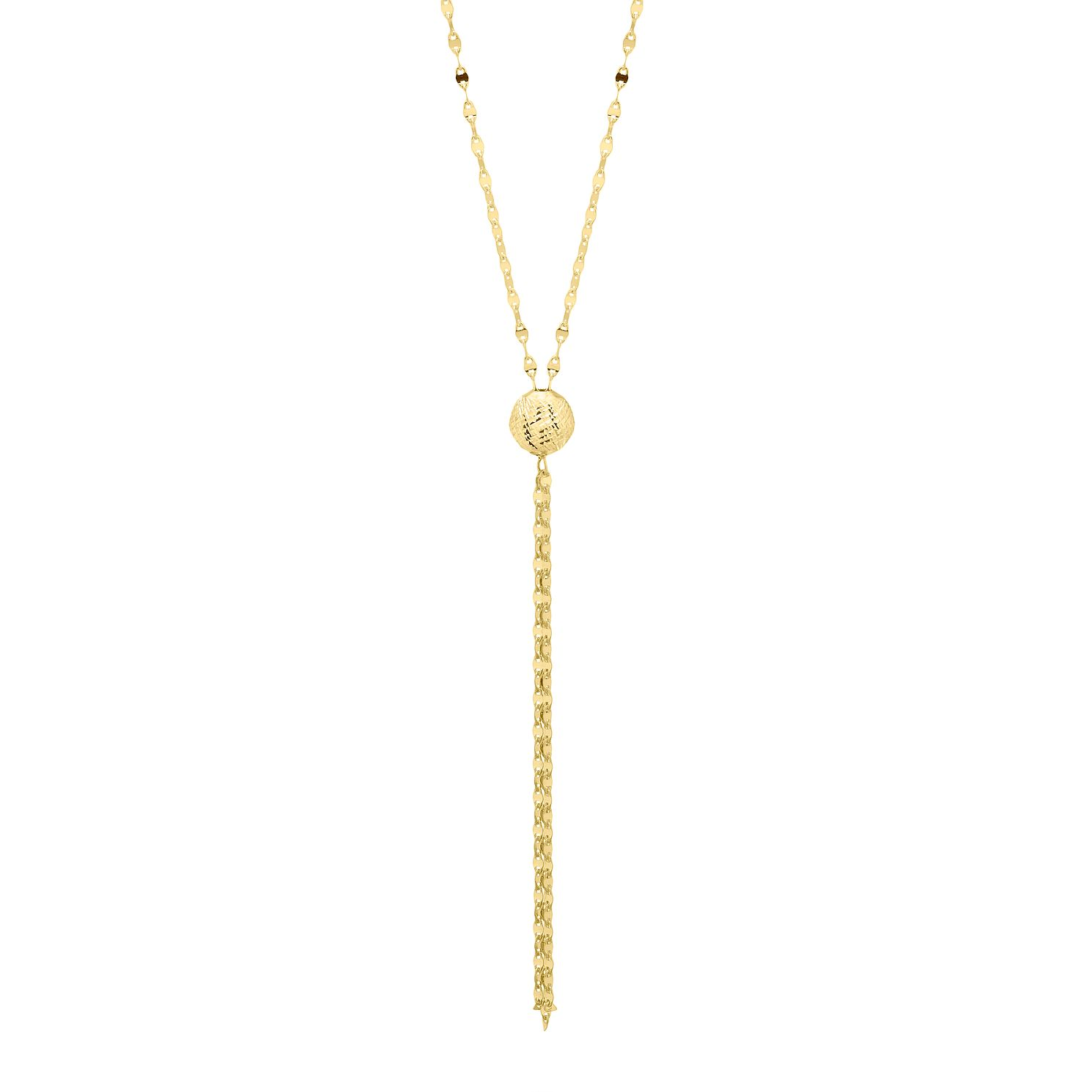 9ct Yellow Gold Diamond Cut Bead & Tassel Necklace - Product number 4672526
