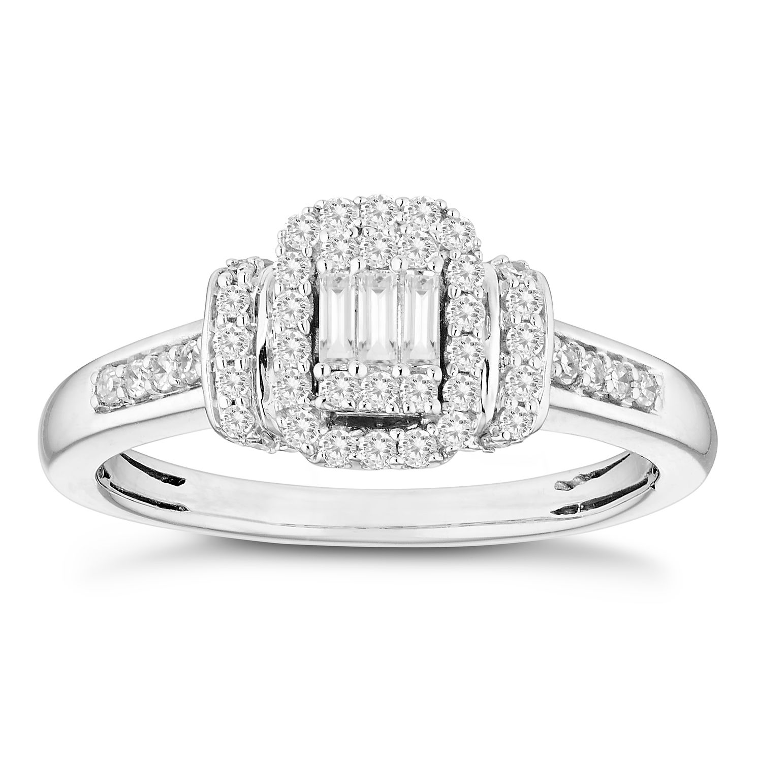 9ct White Gold 0.33ct Total Diamond Baguette Round Cut Ring - Product number 4672593