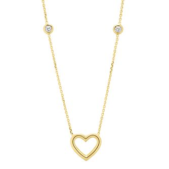 9ct Yellow Gold Cubic Zirconia Open Heart Necklace - Product number 4672755