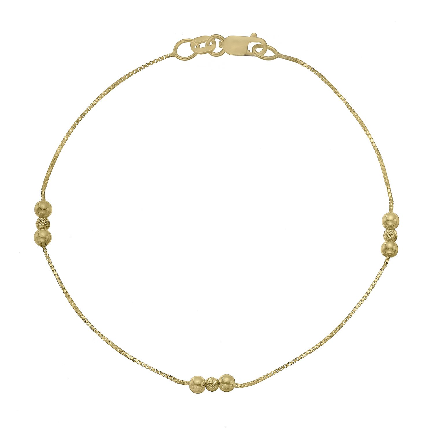9ct Yellow Gold Trio Bead Station Chain Bracelet - Product number 4673042