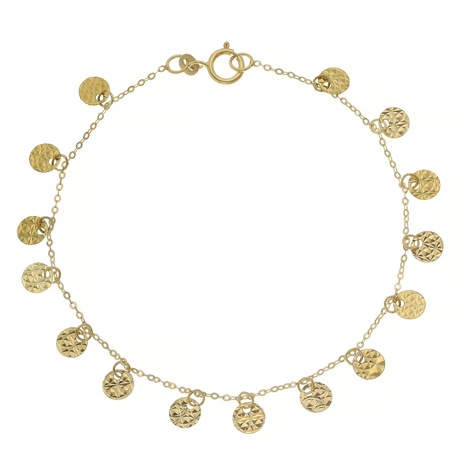 9ct Yellow Gold Diamond Cut Discs Charm Bracelet - Product number 4673069