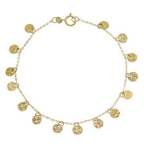 9ct Yellow Gold Diamond Cut Discs Charm Necklace - Product number 4672119