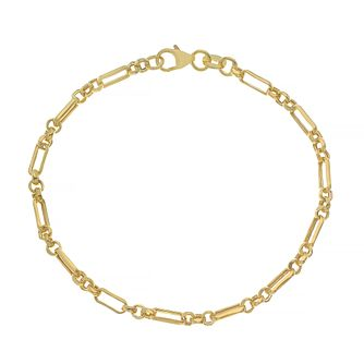 9ct Yellow Gold 7.25 Inch Alternate Anchor Chain Bracelet - Product number 4673077