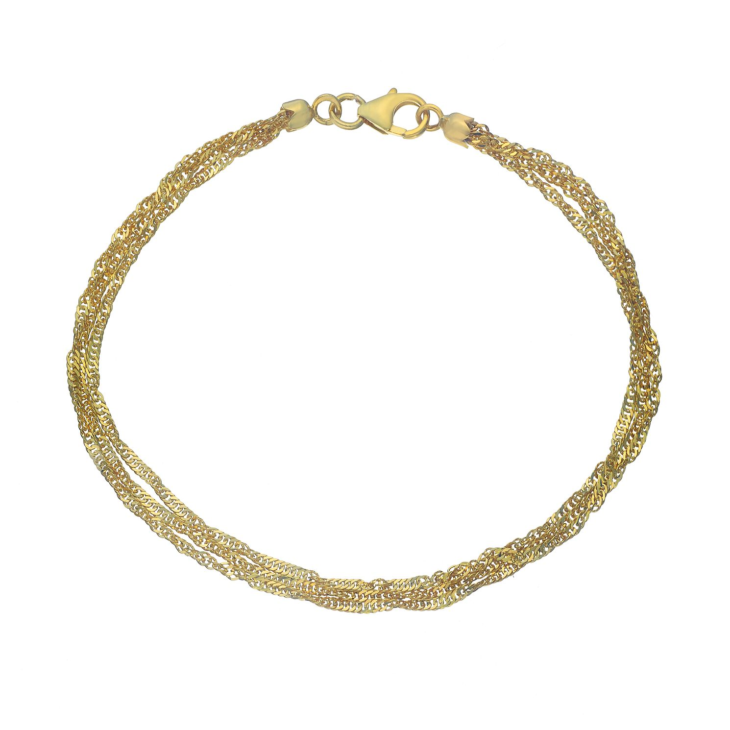 9ct Yellow Gold Three Strands Singapore Chain Bracelet - Product number 4673115