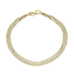 9ct Yellow Gold Three Strands Curb Chain Necklace - Product number 4672445