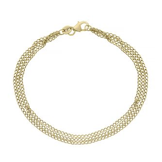 9ct Yellow Gold Three Strands Curb Chain Bracelet - Product number 4673123