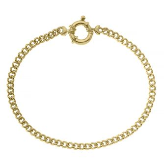 9ct Yellow Gold Springring Clasp Curb Chain Bracelet - Product number 4673158