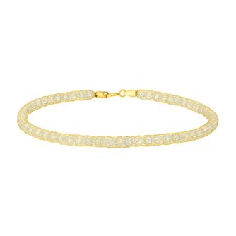 9ct Yellow Gold & Cubic Zirconia Mesh Bracelet - Product number 4673182