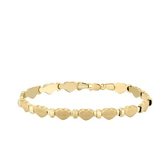 Together Silver & 9ct Bonded Gold Heart Station Bracelet - Product number 4673263
