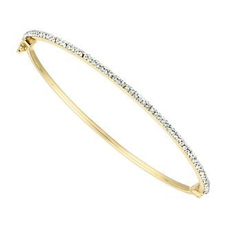 9ct Yellow Gold Swarovski Crystal Bangle - Product number 4673573