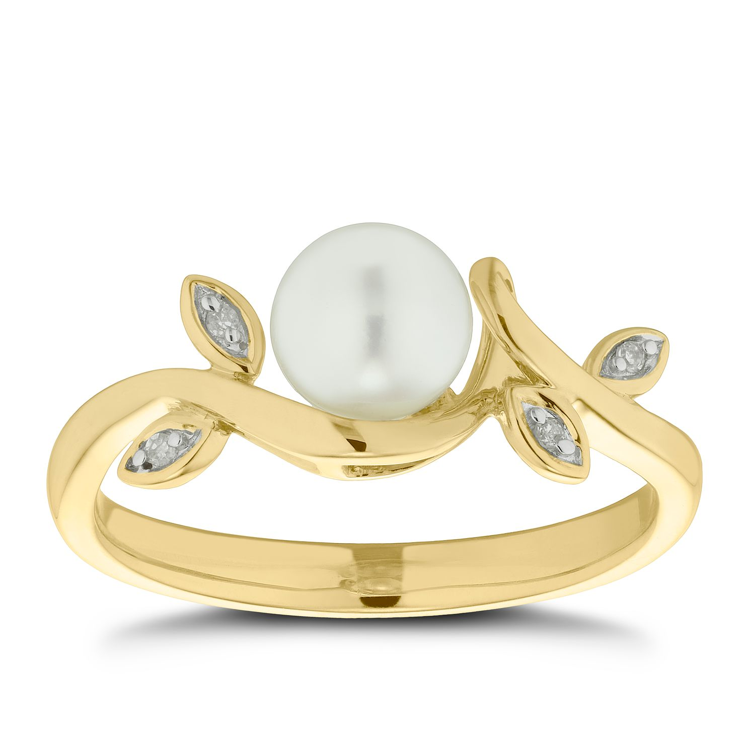 9ct Yellow Gold Cultured Freshwater Pearl & Diamond Ring - Product number 4673840