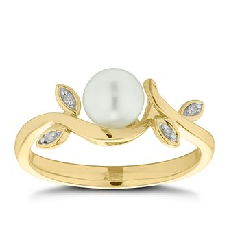 9ct Yellow Gold Freshwater Pearl & Diamond Flower Ring - Product number 4673840