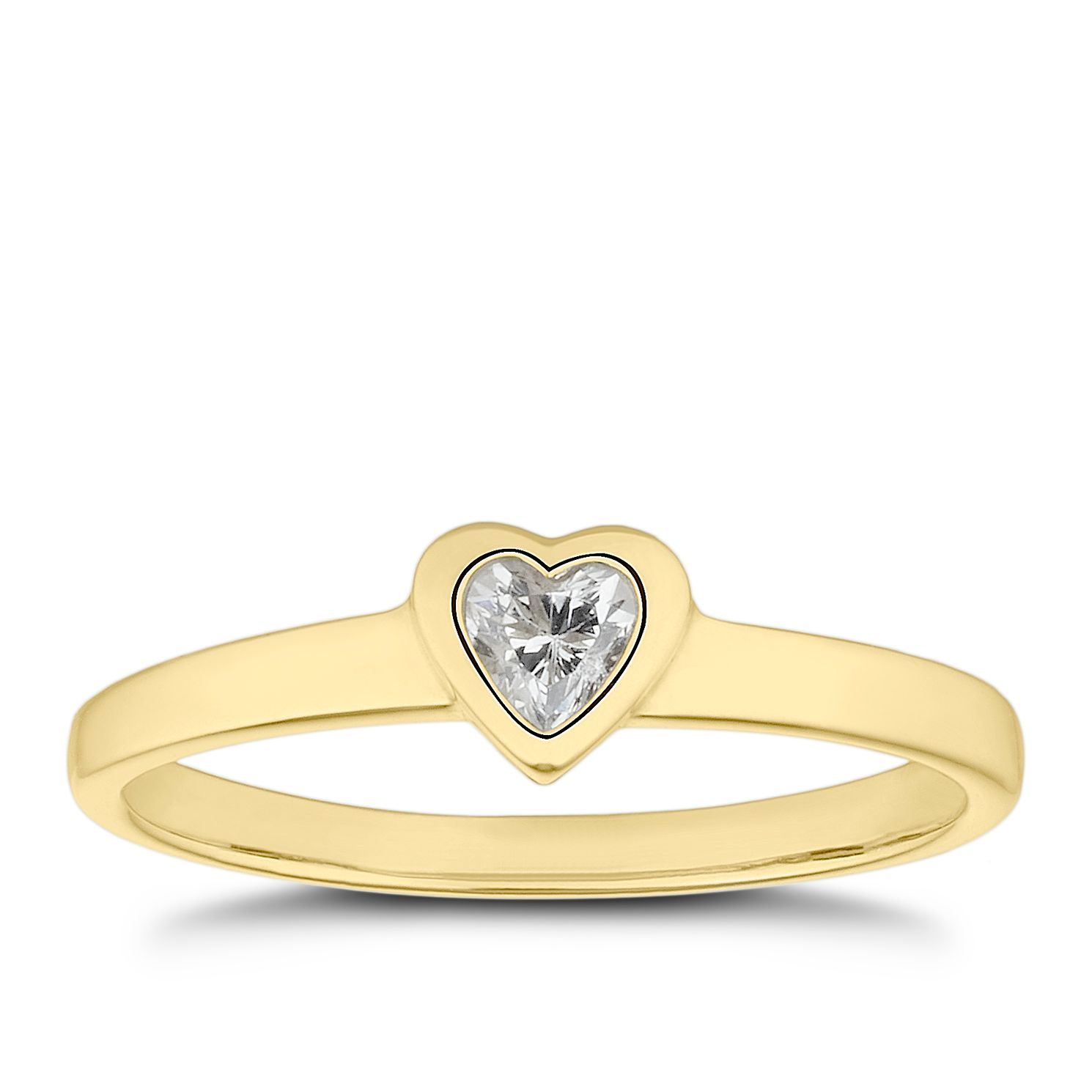 Children's 9ct Yellow Gold Cubic Zirconia Heart Ring - J - Product number 4673883