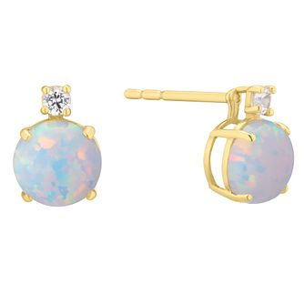 9ct Gold Simulated White Opal & Cubic Zirconia Stud Earrings - Product number 4674197