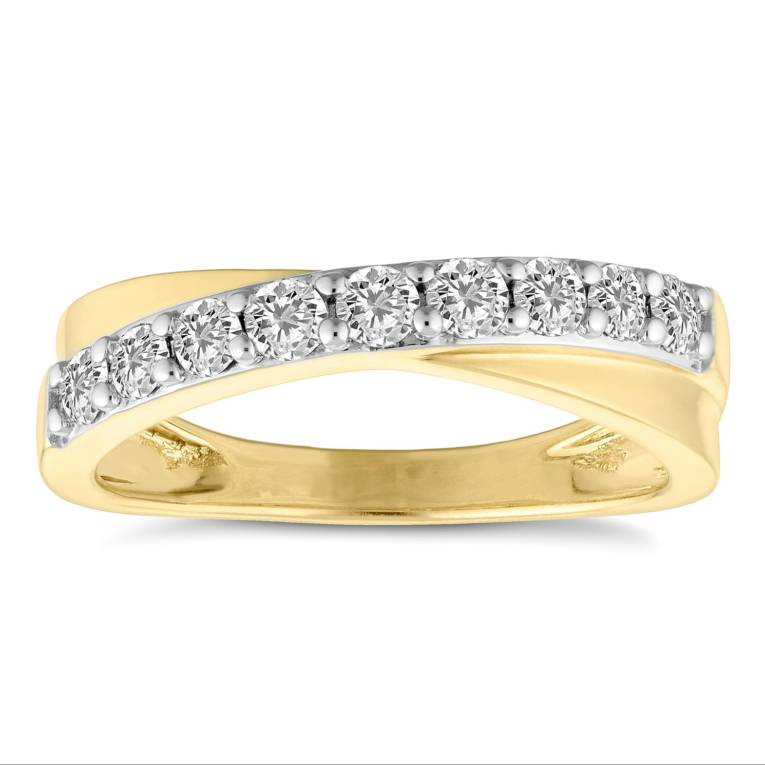 18ct Yellow Gold 1/2ct Crossover Eternity Ring - Product number 4675525