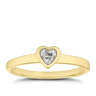 Children's 9ct Yellow Gold Cubic Zirconia Heart Ring - F - Product number 4677250
