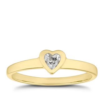 Children's 9ct Yellow Gold Cubic Zirconia Heart Ring - H - Product number 4677269