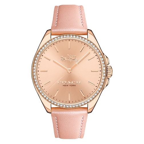 Coach Ladies' Rose Gold tone Rose Dial Strap Watch - Product number 4677633