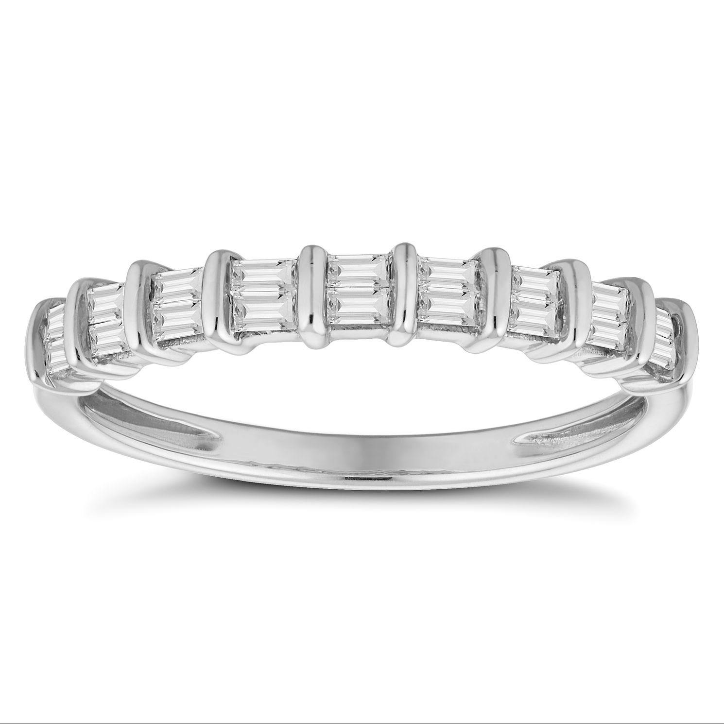 9ct White Gold 0.20ct Baguette Cut Half Eternity Ring - Product number 4679709